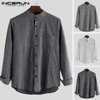 NEW Mens Collarless Long Sleeve Shirt Retro Striped Grandad Neck Blouse Tee Top