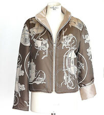 Hermes Jacket Silk Reversible Scarf Print Carriages Taupes Subtle Wadding  L
