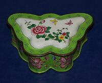 UNIQUE STUNNING CHINESE BUTTERFLY ENAMEL GREEN FLOWERS & BUTTERFLIES TRINKET BOX