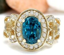 7.82 Carat Natural Zircon 18K Solid Yellow Gold Luxury Diamond Ring