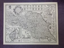 YORKSHIRE NORTH & EAST RIDINGS MAP by John Speed 1610 - Uncoloured