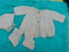 Vintage Infant LifeSize Doll Japan Crochet Floral Hat Booties Bonnet Set WPL9337