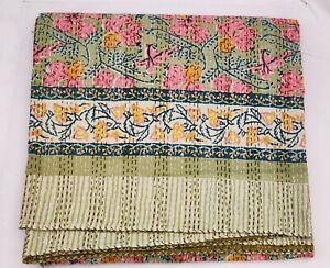 Indian Floral Gudri Hand Block Print Kantha Quilt Cotton Coverlet Bedding V