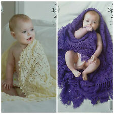 Baby KNITTING PATTERN Easy Lace Baby Blanket/Shawls 3ply & 4ply King Cole 4210