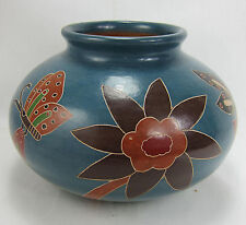 Vintage Burnished Mexican Pot Pottery Incised Butterflies Flowers Gorgeous