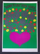 LOVE MADE VISIBLE 1960s VINTAGE ORIGINAL FLOWER POWER HEART POSTER KAHLIL GIBRAN