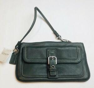 COACH Green Leather Metal Buckle Pocket Flap Wristlet Clutch