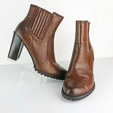 Franco Sarto Women's Brown Ankle Boots Leather Eyelet Trim Stretch Panel Size 9