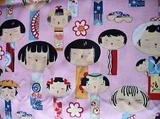 YUIKOKESHI JAPANESE PINK 100% COTTON FABRIC HALF YARD/SEWING CHILDREN PRINT