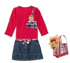 "NWT GYMBOREE ""NEW YORK GIRL"" red shirt, denim skirt  size 4 and purse"