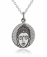 Buddha Charm Necklace - 925 Sterling Silver - Buddhism Religious Pendant NEW