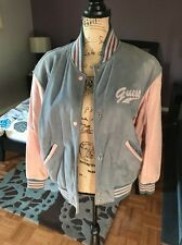 Vintage GUESS Georges Marciano Woman's Jacket Leather Varsity Bomber Pink M