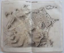 1838 ORIGINAL MAP OF THE CITY OF RIO DE JANEIRO, BRAZIL by DUFOUR & GAVARD