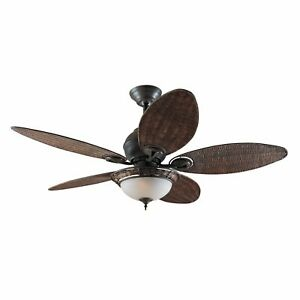 """Tropical ceiling fan light with pull chain Hunter CARIBBEAN BREEZE 137cm 54"""""""