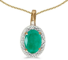 14k Yellow Gold Oval Emerald and Diamond Pendant (no chain) (CM-P2615X-05)