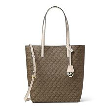 MICHAEL KORS Signature Hayley Large N/S Convertible Tote Mocha / Bisque NWT