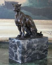 Cougar Panther Jaguar Cat Collector Bronze Marble Bookend Statue Paperweight Art