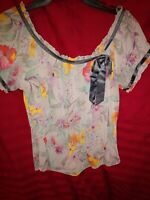 Women's Short Sleeve Floral  Sheer Blouse sz Large