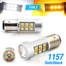 Type 2 White/Amber 1157 LED DRL Switchback Turn Signal Parking Light Bulbs