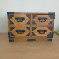Japanese Tansu cheset storage Box Wooden Width 22.5cm x 15cm x 16.5cm
