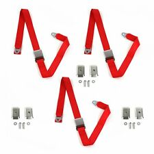 Ford 1952 - 1954 Airplane 2pt Red Lap Bench Seat Belt Kit w/ Bracketry - 3 Belts(Fits: More than one vehicle)