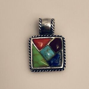 925 Sterling Silver Turquoise Amber Blue Lapis Coral Pendant