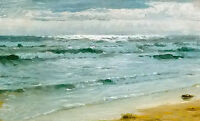 Oil painting peder severin kroyer - seascape mar en skagen with ocean waves art