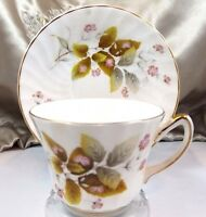 Delphine Antique Tea Cup Saucer Pink Green Floral Porcelain Post 1940 England