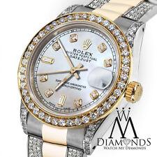 Women's 31mm Rolex Oyster Perpetual Datejust Custom Diamonds Pearl Diamond Dial