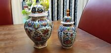 2 Vintage Dutch porcelain Polychrome Faience Urns Jars Oud Delft Holland
