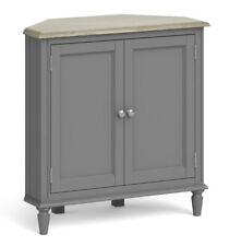 Holburn Grey Corner Cupboard / Dark Painted Side Cabinet / Wooden Storage Unit