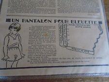 """PATRON ORIGINAL  POUPEE """" BLEUETTE """"   LINGERIE PANTALON CULOTTE JANVIER  1949"""