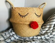 Large Seagrass Belly Basket Planter Storage Christmas