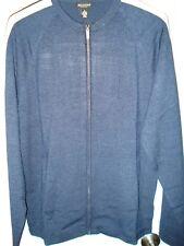 New Mens Reunion Navy Blue Silk Full Zip Cardigan Sweater Size Medium