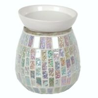 Aroma Electric Wax Melt Burner ICE WHITE  Crackle Mosaic Scented Tart Warmer