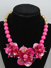 Kate Spade Gold VIBRANT LIFE Pink Bead Sequin Flower Statement Necklace $148