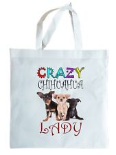 CRAZY CHIHUAHUA LADY GIFT TOTE BAG, re-usable shopper. Can be personalised