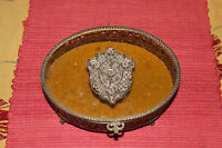 Vintage Ormolu Trinket Jewelry Box Gold Metal Silver Crest Top Footed