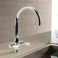 Traditional Swivel Twin Lever Kitchen Sink Mixer Taps Chrome Monobloc Basin Tap