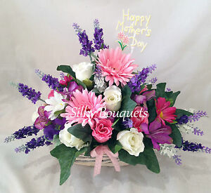 Artificial Silk Flower Basket Bouquet Gift Arrangement Delivered Mum Nan Gran