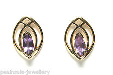 9ct Gold Amethyst Studs Earrings Made in UK Gift Boxed