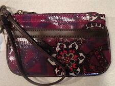 NEW! Mudd Angie Glazed WRISTLET Purple Peace Flower Wallet Purse Bag Great Gift!