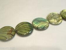 StripeSFD03 Green : 10 pcs x 20mm Shell Disc Beads