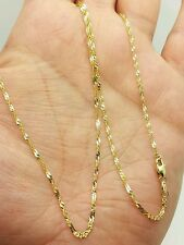 "14k Solid Yellow Gold Diamond Cut Singapore Twist Necklace Chain 18"" 1.5mm"