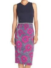 Maggy London Navy Pink Teal Floral Scuba Knit Social Cocktail Dress 14 $119