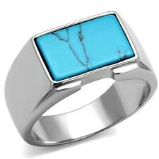 Mens turquoise ring signet pinky classic blue stainless steel silver stamped3000