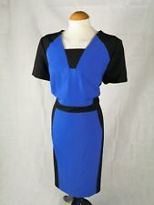 Ladies Dress Size 18 Black Blue Shift Office Work Day Party