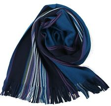 Klassischer Strickschal aus 100% Merinowolle mit Fransen -- blau gestreift