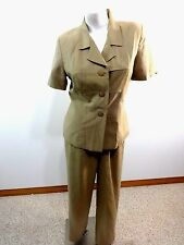 ADRIANNA PAPELL WOMENS BEIGE 100% PURE SILK PANT SUIT SIZE 10