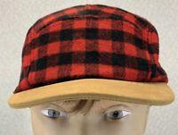 Buffalo Plaid 5 Panel Faux Leather Brim Retro Style Snapback Hat Cap